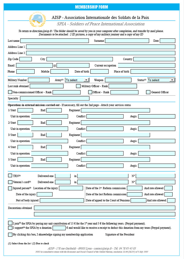 Membership Form - English Form