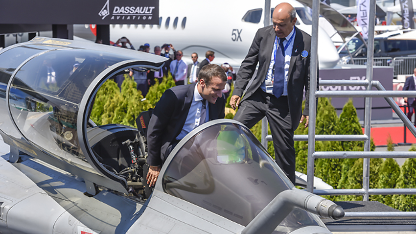 Emmanuel Macron, inaugurant le salon du Bourget en 2019.
